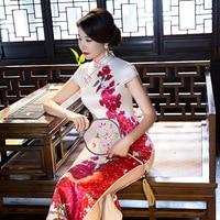 Long Cheongsam Wedding Qipao Dresses Chinese Traditional Dress Robe Chinoise Flowern Qi Pao Vestido Oriental Evening Gown