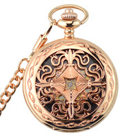 Rose Gold Skeleton Automatic Mechanical Pocket Watch Men Vintage Hand Wind Clock Necklace Pocket & Fob Watches With Chain Gifts