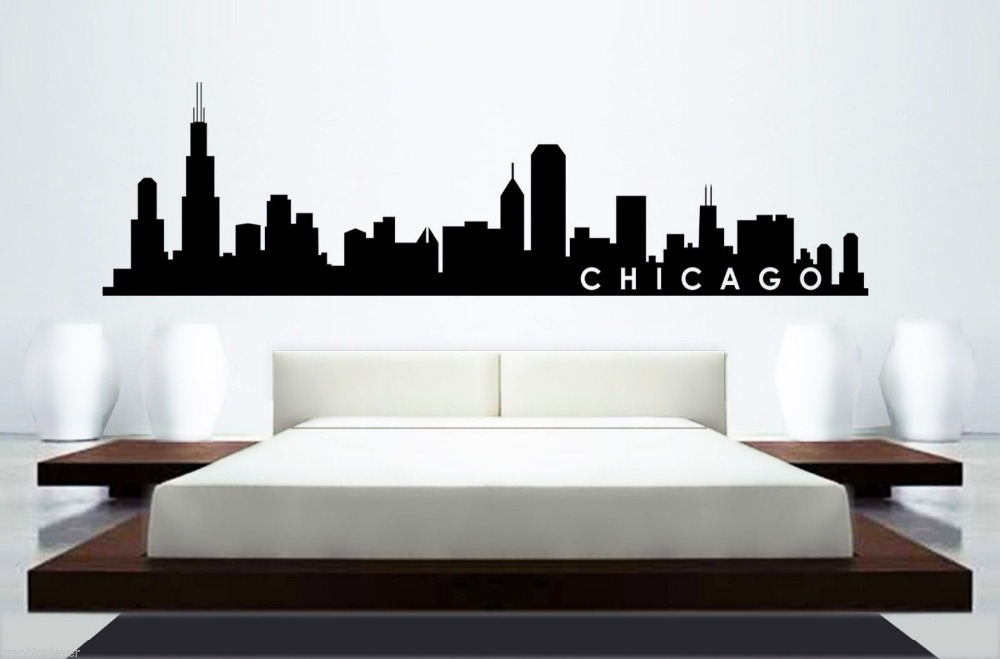 Skyline mural wall sticker chicago skyline home decor for Chicago skyline wall mural