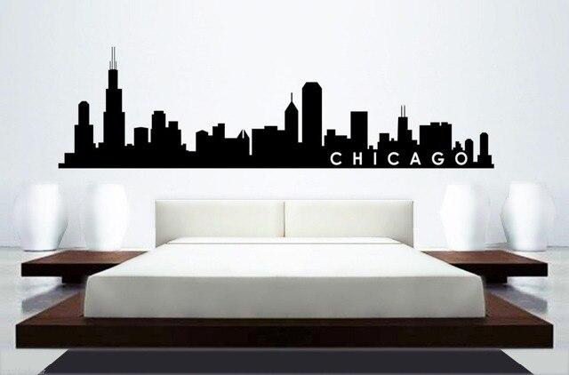 Skyline Mural Wall Sticker CHICAGO SKYLINE Home Decor Building Mural Art  Wall Sticker Bedroom Car Wall Part 43