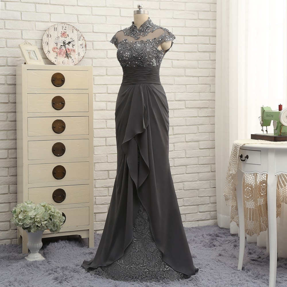 Open Back 2018 Mother Of The Bride Dresses Mermaid Cap Sleeves Gray Lace Beaded Long Evening Dresses Mother Dresses For Wedding 4