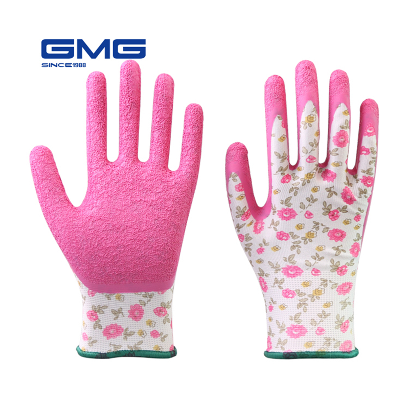 Women Gloves Work GMG Printed Polyester Shell Pink Latex Crinkle Coating Work Safety Gloves For Work Protective