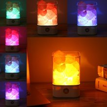 Himalayan Crystal Salt Lamp Natural Air Purifying Dimmable Pink Salt Rock Crystal  LED Desk Night Light with Adjustable 7 Colors