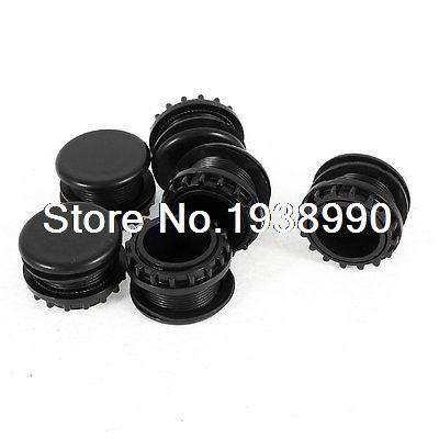 6 Pcs Black Plastic Push Button Switch 22mm Mount Hole Panel Plug Cap