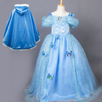 En venta largas niñas disfraces de halloween niños de la princesa cenicienta caped formal vestidos de noche para niños