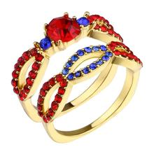 Created Red Stone Princess Diana Crown Halo Engagement Fashion Luxury Alloy Rings Jewelry For Women