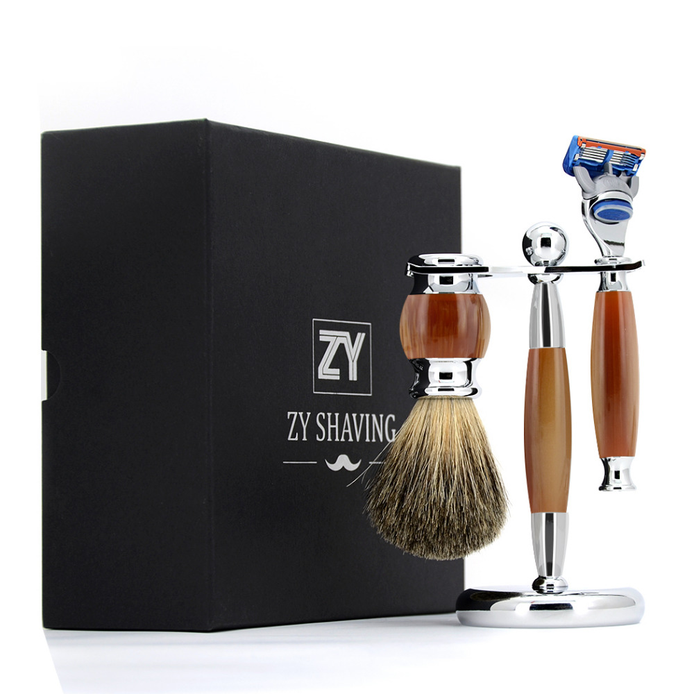 ZY 3 / 5 / Double Edge Blade Shaving Set Pure Badger Hair Shave Beard Brush Kit Safety Razor Shaver Knife Stand Holder Men Gift