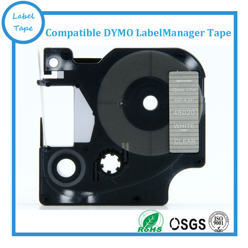 DYMO D1 12mm White On Clear LabelManager Label Tape 45020