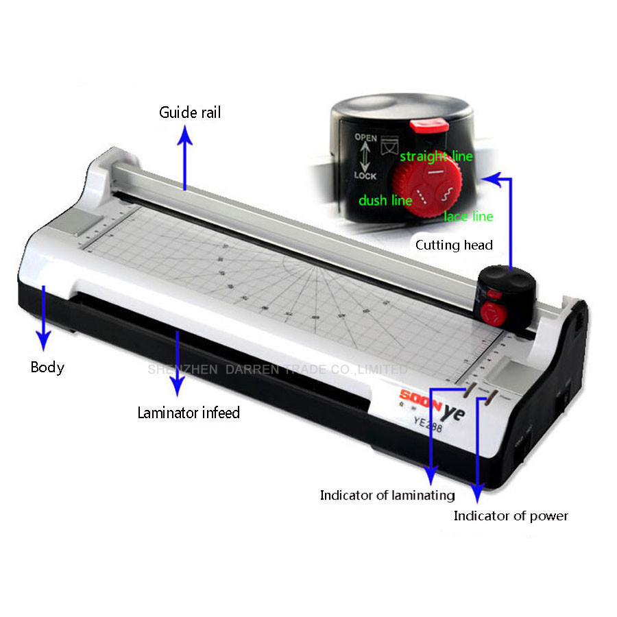 YE288 Smart Photo Laminator A4 Laminating Machine Laminator Sealed Plastic Machine Hot And Cold Laminator Photo Cutter