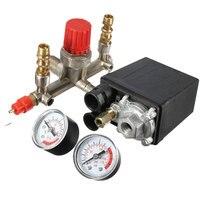 Regulator Heavy Duty Air Compressor Pump Pressure Control Switch 4 Port Air Pump Control Valve 7.25 125 PSI with Gauge