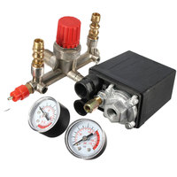 Regulator Heavy Duty Air Compressor Pump Pressure Control Switch 4 Port Air Pump Control Valve 7.25 125 PSI with Gauge