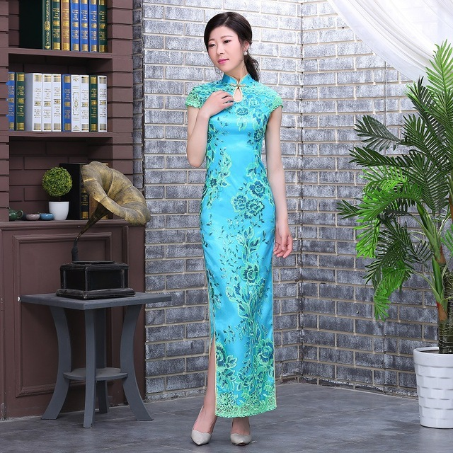 Elegant Sequins Stage Show Cheongsam/Vintage Mandarin Collar Qipao Floral Classic Evening Party Dress