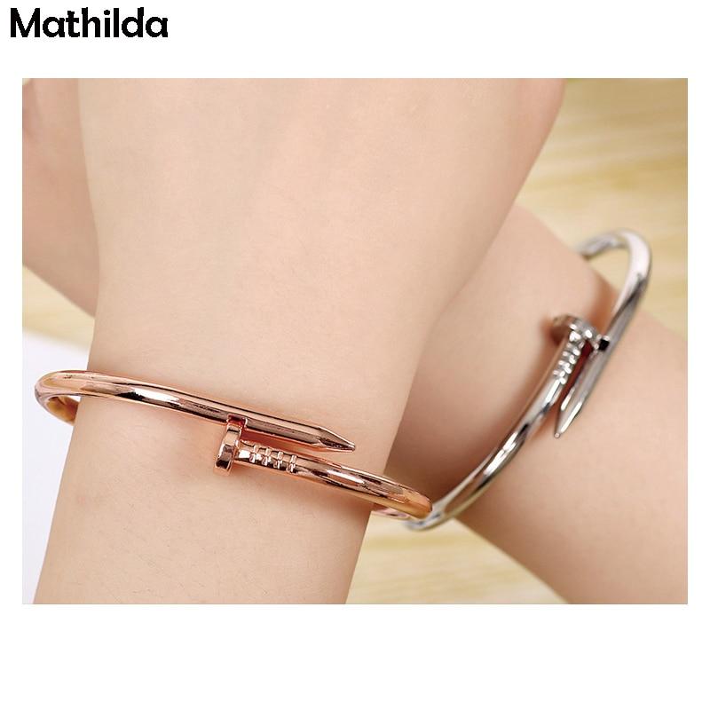 Mathilda Fashion Nail Bangles Pulseras Mujer Women Bracelet Nail Titanium Steel Nail open Lover's Bangles J005