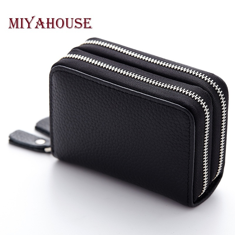 Miyahouse Genuine Leather Unisex Credit Card Holder Wallets For Women Double Zipper ID Card Bag Male Business Cards Purses