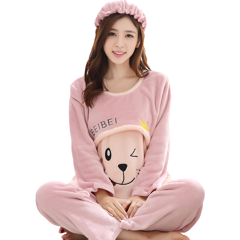Warm Nursing Clothes Pajamas Pregnant Pajama Sets Coral Fleece Maternity Long Sleeve Tops&Pants Winter Sleepwear Nightgown C528 maternity pajama hot robes autumn winter pregnant woman unisex home coral fleece pajama comfortable solid pockets women bathrobe