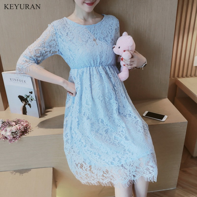 New Fashion Pregnancy Wear Spring Summer Clothes Hollow Out Of Pregnant Dress Sweet Maternity Dress O-Neck Lace Dresses Y085