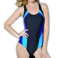 Geometricl Printed Women Bodysuit Sports Slimming One Piece Swimsuit Professional Long Athletic Swimwear Bathing Suit Swim