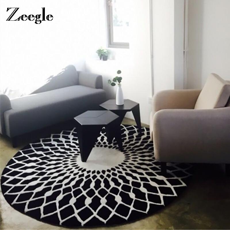 Zeegle European Style Carpet For Living Room Black And White Round Bedroom Rugs Anti-Slip Office Chair Floor Mats