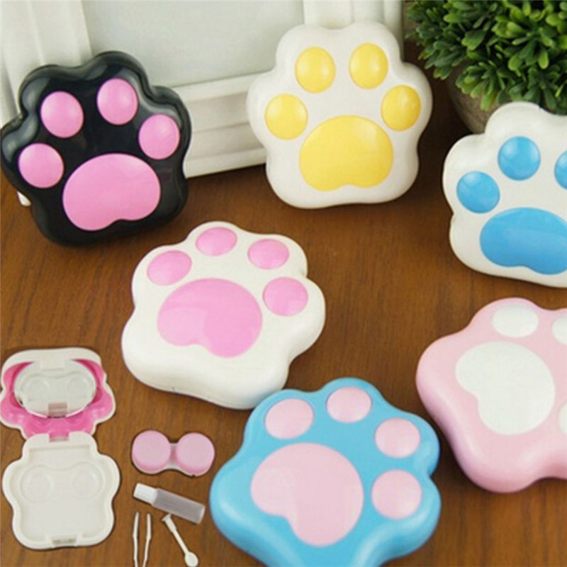 Mini Contact Lenses Box Container Holder Cartoon Cute Plastic Dog Cat Paw Contact Lens Case With Mirror