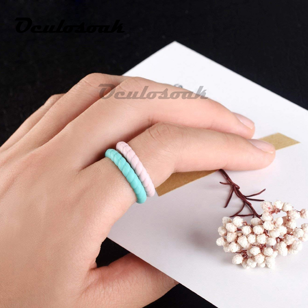 DD 3mm Thin and Braided Silicone Ring Hypoallergenic Crossfit Flexible Twist Rubber Finger Ring For Women Wedding Rings