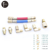 8PCS Set Car 7 16M 3 8F 5 16F Air Conditioning Refrigerant Replenishing Pipe Adapter R134A