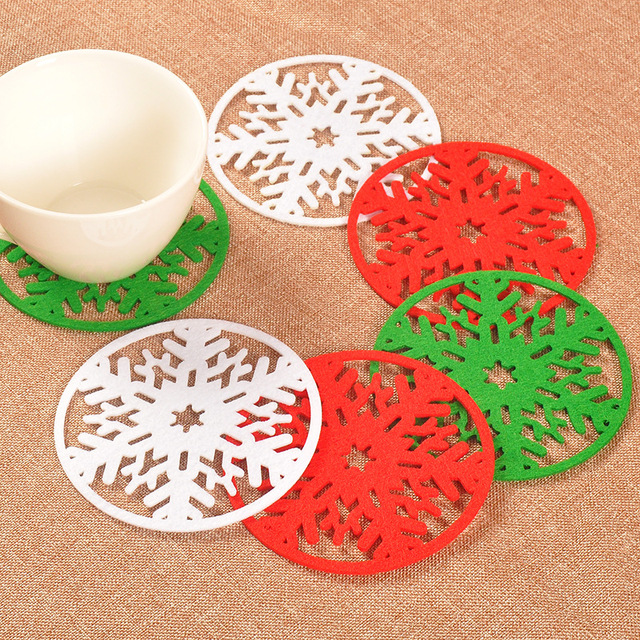 Christmas Snowflake Cup Pad Snowflake Insulation Coasters Mat Xmas  Christmas Table Coffee Drinks Heat Pad