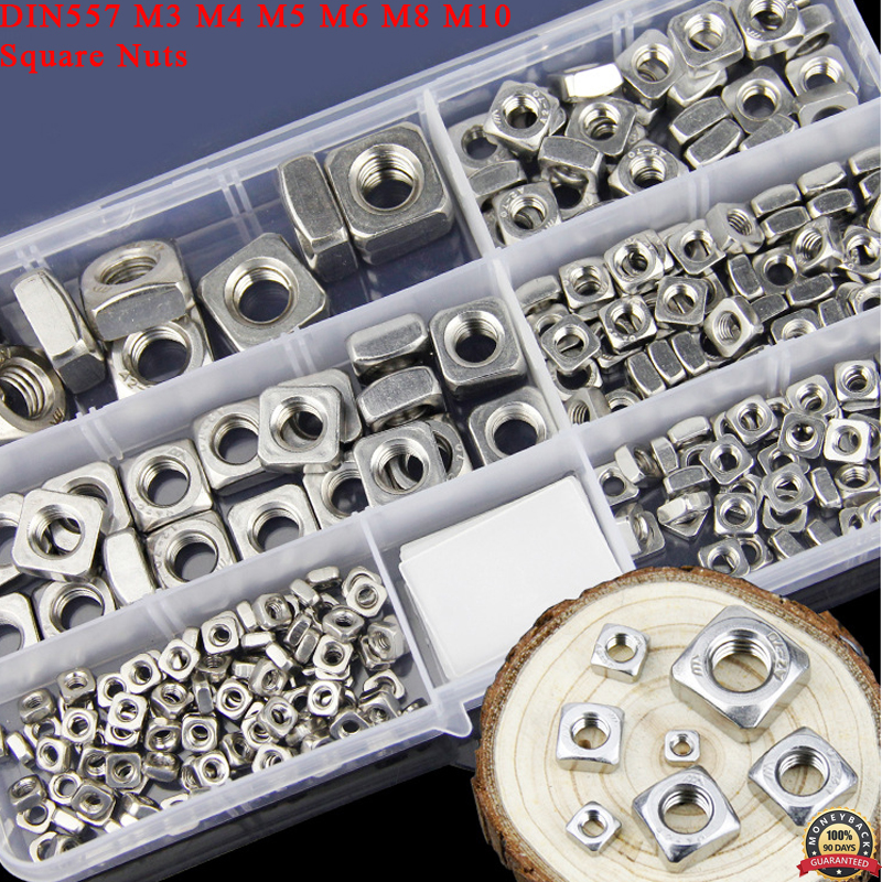 DIN557 M3 M4 M5 M6 M8 M10 304 Stainless Steel Square Nuts Metric Coarse Thread Nut Assortment kit