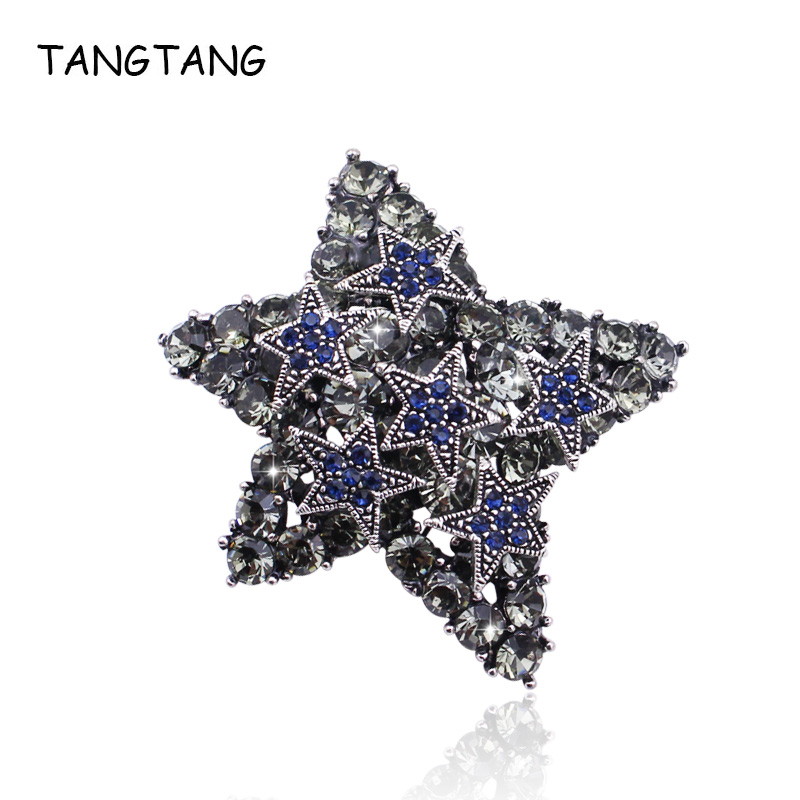 Full Rhinestone Stars Antique Jewelry Brooches Vintage Blue Star Lucky Brooch Pins Costume Jewelry For Women And Men Coat Clips