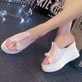 Enjaulado Dedo aberto Verão Mulheres Sapatos de Couro Preto Peep Toe Plataforma Plana De Salto Alto Sandálias Gladiador Botas Chunky Botas de Salto Grosso