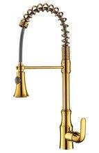 Свободный корабль золото pvd цвет вытащить кухонный кран смесителя на Одно отверстие/ручка на бортике кран Весна
