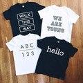 Algodão tamanho 80 ~ 120 crianças t-shirts para crianças cobre t meninos de roupas para crianças de manga curta verão gilr t camisas carta número