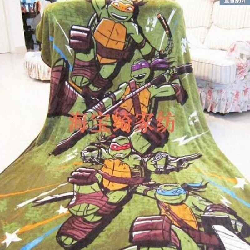 Green Cartoon Bedding Children Kids Boys Ninja Blanket 230x160cm Coral  Fleece Blankets Bedclothes Blanket Throws On Sofa / Bed