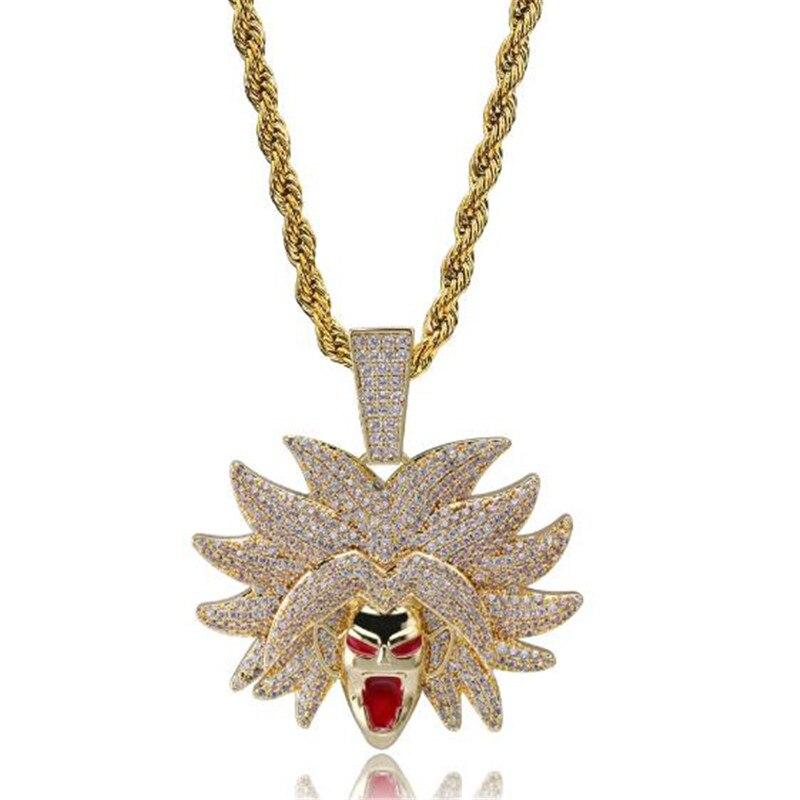 Hip Hop personnalisé glacé Bling chaîne Dragon Ball Super cubique Zircon pendentif et collier pour hommes bijoux livraison directe