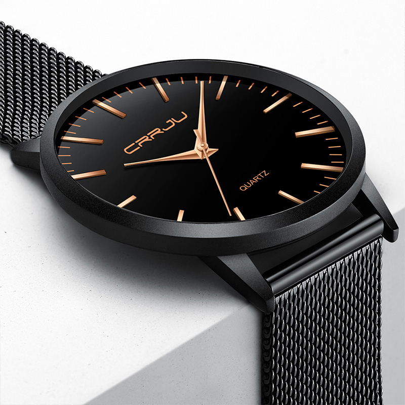 все цены на CRRJU Ultra thin Fashion Mens Quartz Wristwatch Top Brand Business Luxury Watches Waterproof stainless steel Clock Relogio онлайн