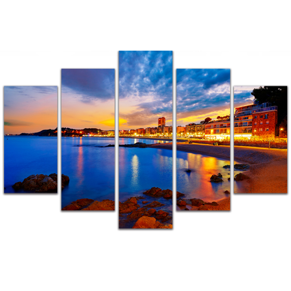 Unframed Canvas Painting Coastal City Night Lights Photo Picture Prints Wall Picture For Living Room Wall Art Decoration