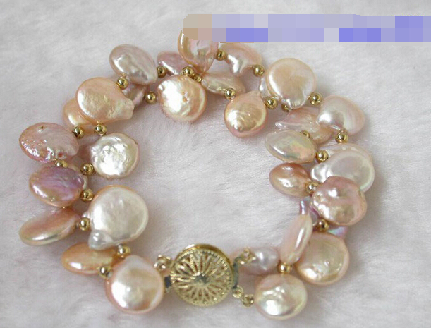 09379 butterfly pink coin freshwater real pearls bracelets bangle (A0502)