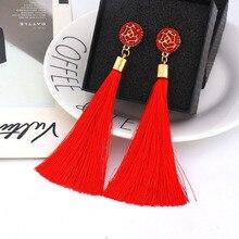 Crystal Flower Long Tassel Drop Earrings for Women Girls Party Statement Ethnic Boho Earings Fashion Jewelry 2019