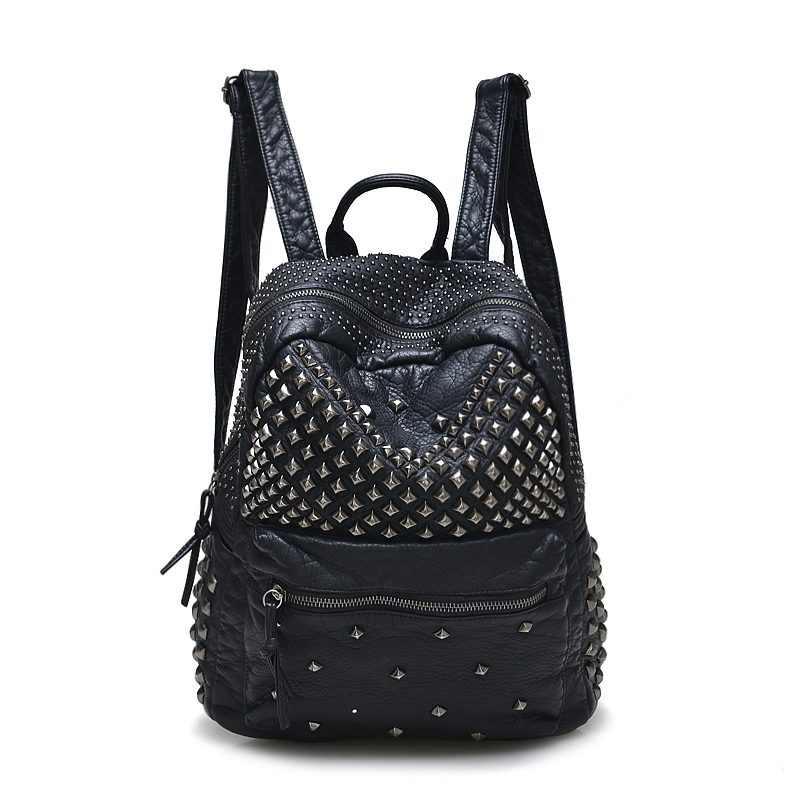 New Fashion Women Backpacks Washed Leather Backpacks Lady Girls Travel Women Bags Rivet Backpacks Student School Bag Hot Grey ybyt brand 2017 new fashion casual washed leather women rucksack hotsale ladies travel bag preppy style student school backpacks