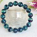 High Quality Natural Purple Blue Fluorite Cornucopia Smooth Round Finished Stretch Bracelets Beads 11.5mm 04388