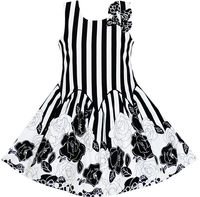 Girls Dress Sleeveless Black White Stripes Flower Bow Tie 7 14