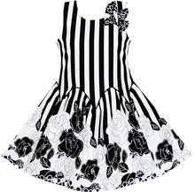 Ensolarado Moda Meninas Vestido Sem Mangas Black White Stripes Flor Arco Laço de Algodão 2017 Verão Festa de Casamento Da Princesa Tamanho 7-14