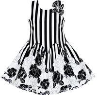 Girls Dress Sleeveless Black White Stripes Flower Bow Tie 7 14
