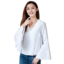 Ladies Sexy V-neck Shirt Women Blouses 2018 Spring New Flare Sleeve Plus Size XXL Loose Solid Blouse Casual White Blue Shirts