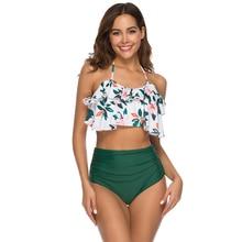 Купить с кэшбэком New Ruffle Bandeau Padded Bikinis Set Swimwear Women 2019 Mujer High Waist Bikini Sexy Push Up Swimsuit Bathing Suits Bathers