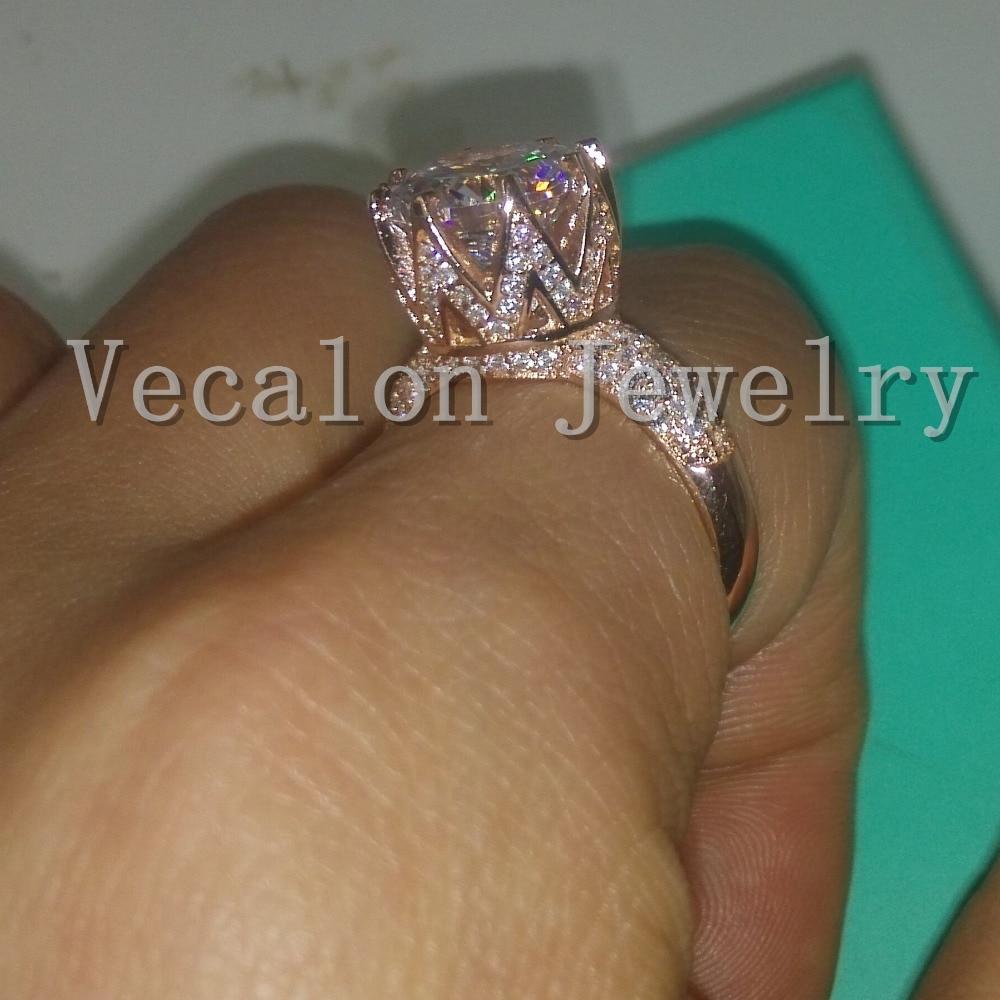 Vecalon Rose Gold Ehering für Frauen Rundschnitt 6 ct AAAAA Zirkon - Modeschmuck - Foto 6