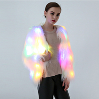 2017 NEW Europe Fashion Hairy Faux Fur Coat With LED Lights Festival Wear Halloween Christmas Party