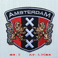 Patch bordado emblema AMSTERDAM Ferro Sobre patches para vestuário, camisa, calças de brim womenp, roupas de marca, jaqueta de couro, cap