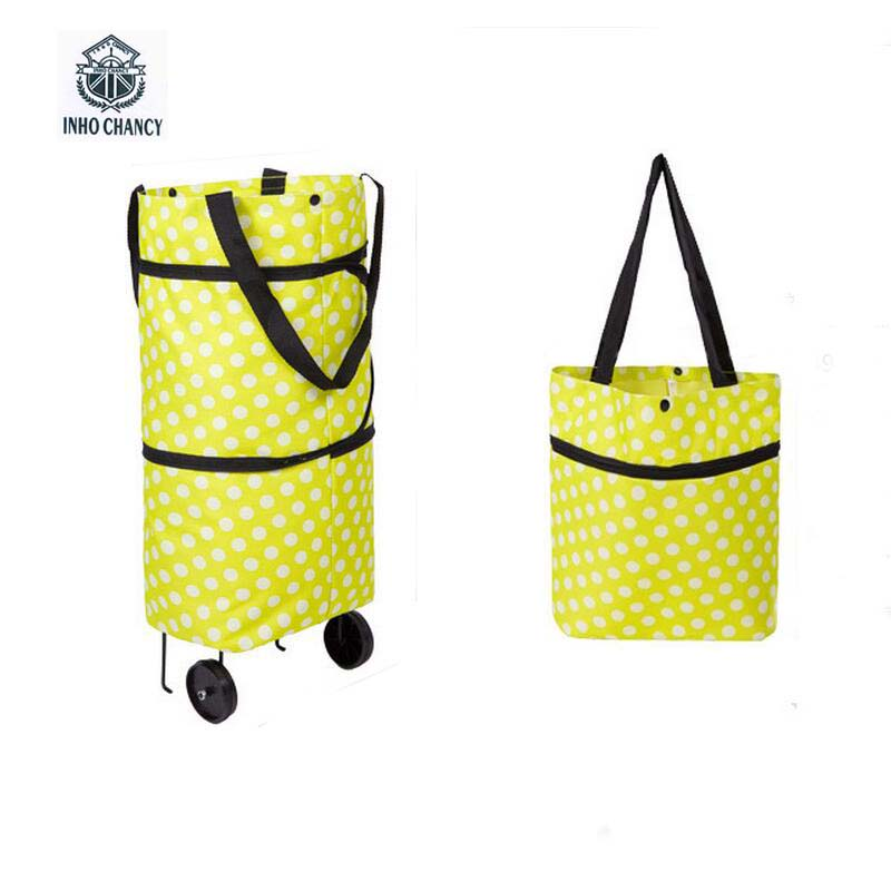 Multi-function Tugboat Bag Foldable Green Shopping Bag Tote Folding Pouch Handbags Convenient Large-capacity Storage Wheel Bags