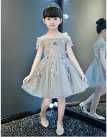 女の赤ちゃんピアノドレス衣装子供のためのウエディングドレスグレーエレガントなイブニングガウンワンショルダーリトルプリンセス服子供キッ