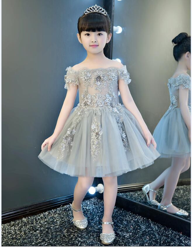 Baby girl piano dress costume for kids prom dress gray elegant evening gowns one shoulder little princess clothing children kids adam perlmutter piano for dummies